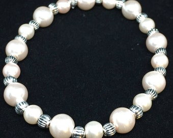 White Glass Pearl and Silver Bracelet