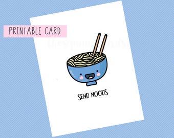 Send Noods | Valentines Card, Anniversary Card, Funny Card, Puns Card, Puns, Love Card, Pun, Joke, Funny, Cute, for him, Valentines Day,