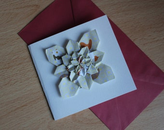 Handmade Origami Card - For anniversaries, birthdays, celebrations, engagements, greetings (5 layers) (small size)