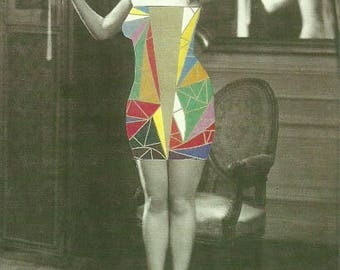 The Cubist Muse : A6 postcard from an original analog collage