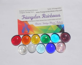 Assorted Colors Glass Gems Set of 11