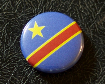 "1"" Democratic Republic of the Congo flag button, country, pin, badge, pinback, Made in USA"