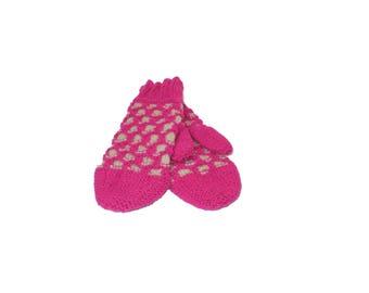 Pink and White Mermaid Mittens Adult