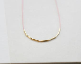 """ultra skinny necklace, silk string necklace with gold tube beads, thin gold tube necklace, delicate dainty necklace, """"fay"""" handmade necklace"""