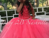 Coral Flower Girl Dress W...