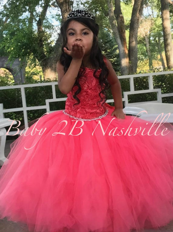 Coral Flower Girl Dress Wedding Dress Coral Dress Coral Lucky Charm Dress Tutu Dress Baby Dress Toddler Dress Girls Dress Tulle Dress