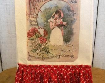 Vintage Northern Grown Kitchen dish towel Tattered ruffles Ivory cotton  Ecs RDT FVG team OFG team SVFteam