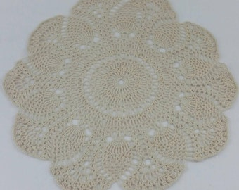 Large Ecru Doily Pineapple Beige Tan Off White 15 Inch Crochet Crocheted Table Topper Dresser Scarf