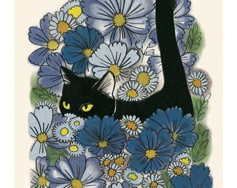 "Cat illustration - Cat print -  A Walk in the Garden  - 4"" X 6"" print - 4 for 3 sale"