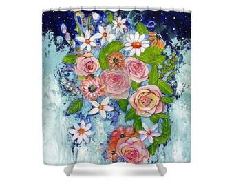 Garden Art, Flowers, Night Sky Shower Curtain, Bathroom Decor, Oversized Art