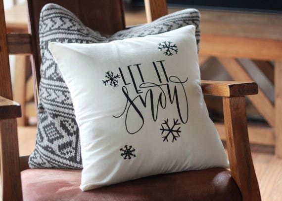 Let It Snow Christmas Pillow Snowflake Farmhouse Country Style Couch Home Decor Pillow Holly Santa Baby Hand Lettered 16 x16 Handwritten