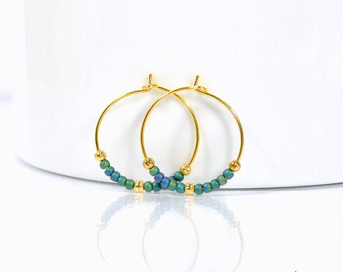 Hoop Earrings Blue Gold Small Hoop Earring Peacock Blue