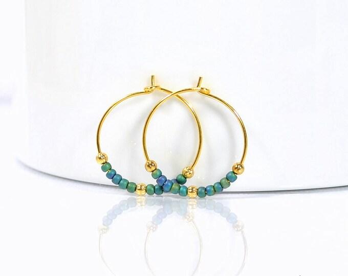 Hoop Earrings Blue Gold Earrings Small Hoop Earring Beaded Earrings Handmade Earrings Peacock Blue