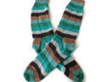 Socks - Hand Knit Men's Green, Brown and Gray Striped Socks - Size 10-11  - Casual Socks - Handknit Socks - Striped Socks
