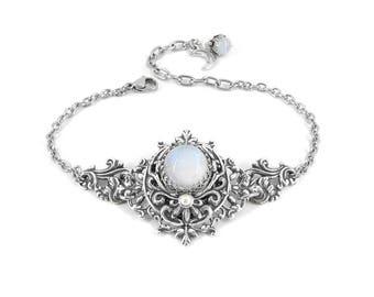 Luna's Blessing - Rainbow Moonstone Bracelet, Silver Crescent Moon Bracelet, Goddess of the Moon, Moonsong Collection