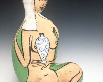 Man And Woman Clasping Hands; Green Glaze; Closed Form; Fine Ceramic Arts