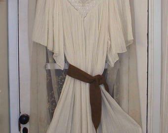 bohemian cream gauze embroidered lace angel sleeve hippie dress