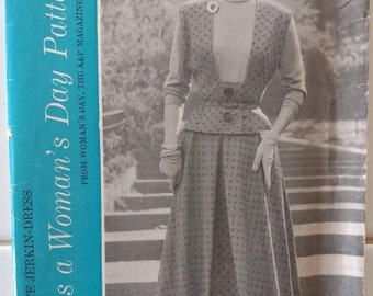 WOMEN'S DAY 5061 Size 16 Bust 34 Vintage 1950's Jerkin Vest Skirt Mock Turtleneck Blouse Dress Pattern