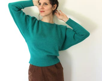 Batwing Sweater / 1980s Sweater / 80s Pine Green Emerald Batwing Sleeve Angora Wool Knit Sweater