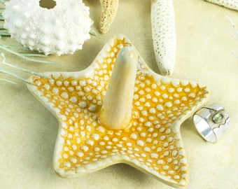 Starfish ring holder, yellow jewelry Ceramic Ring Holder handmade pottery Beach wedding favor Decor Bridal shower gift for her under 25