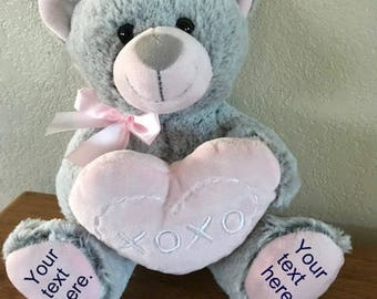 Personalized Bear, Birth announcement stuffed animal, Stuffed Bear, Newborn Keepsake, New Baby Gift, Personalized Baby Gift, Birth Stat Bear
