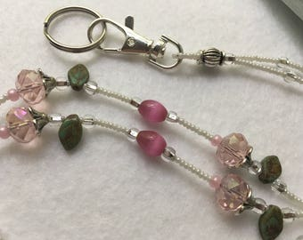 Pink Rose ID Badge Lanyard standard length beaded with glass beads and leaves