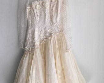 short wedding dress | 80s tulle sequins wedding dress