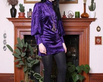 Vintage 70s Deep Purple Velvet Victorian Mini Dress XS