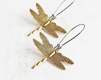 Large Antiqued Gold Plated Dragonfly Earrings on Gunmetal Black Hooks