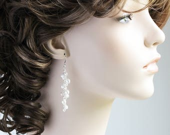 White Pearl Cascade Cluster Dangle Earrings on Silver Plated Hooks