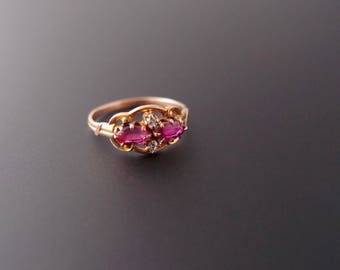 antique Ostby & Barton Ruby Diamond Ring Pink Sapphire Victorian 10k solid yellow gold OB Maltese Cross mark ... size 4.5