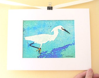 Egret art, watercolor giclee print, snowy egret, blue white shore bird art, heron print, beach cottage decor, nursery wall art, matted 9x12