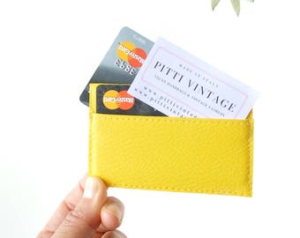 Yellow credit card sleeve, thin wallet women, slim wallet women, vegan credit card case, credit card holder leather, yellow wallet, gift