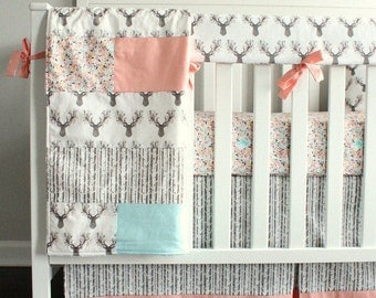 Woodland girl Crib bedding. Fawn, Coral, Mint, Deer.