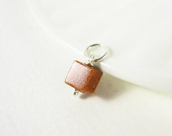 Burnt Orange Goldstone Pendant - Glass Bead Goldstone Jewelry - Sterling Silver Charms - 14k Gold Charms - Aventurine Glass Charms