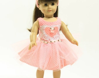 BEAUTIFUL PINK POLKA Dot Dress with Pink Heart Applique and Matching Crocheted Headband