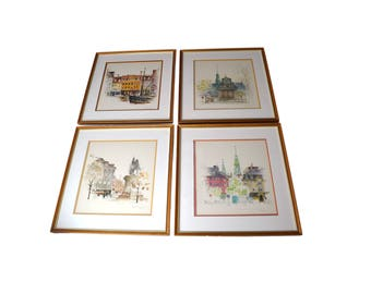 Vintage Mads Stage Watercolors, Set of Four Danish Artist Framed Copenhagen Cityscapes