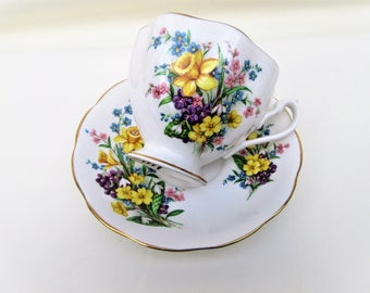 Vintage Bone China Cup Saucer | Tea Cup | Queen Anne Teacup | Coffee Cup Set | Spring Song | Tea Cup Stand