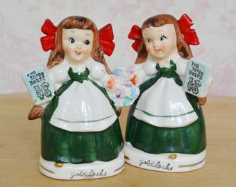 Vintage 1950s Goldilocks Salt and Pepper Shakers Holding Three Bears Book by Relco