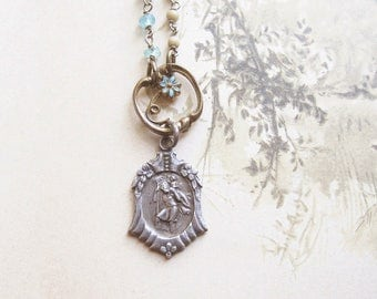 Saint Christopher Necklace / Vintage Assemblage Necklace / Sterling Silver Jewelry / Travel Protection / OOAK