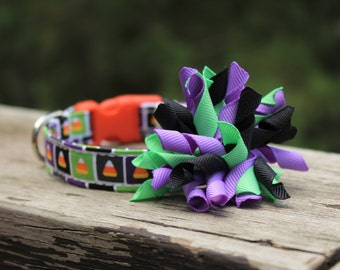 Halloween Dog Collar, Candy corn Dog Collar, Dog Collar, Purple Dog Collar, Green Dog Collar, Dog Collar Bow, Halloween Martingale  Collar