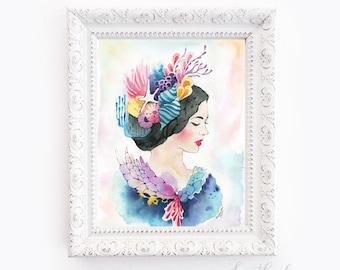 Mermaid Portrait - Watercolor Art Print
