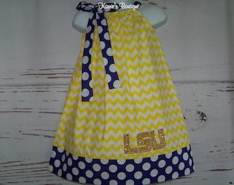 LSU CHEVRON Pillowcase Dress / Purple & Gold / Sundress / Geaux Tigers / LSU Baby / Newborn / Infant / Baby / Girl / Toddler / Boutique