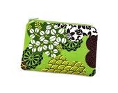 Floral Zipper Bag - Floral Pouch - Flower Coin Purse - Zipper Wallet - Gift ideas - Green Padded Pouch - Gift for Women