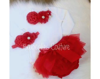 Babys 1st Christmas Outfit, Baby Girl Red Tutu Outfit, Red Newborn Outfit, Outfit, Red Santa Baby Outfit, Red Take Home Outfit, Holiday Prop