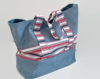 Large Beach Bag, Tote Bag, Overnight Bag, Upcycled Denim, Red White and Blue Sustainable Tote