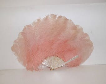 Vintage 1920s large flapper real pink ostrich feather hand fan with MOP mother of pearl struts burlesque dancer