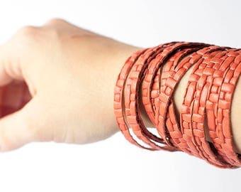 Leather Bracelet / Original Sliced Wrap Cuff / Woven Juicy Peach