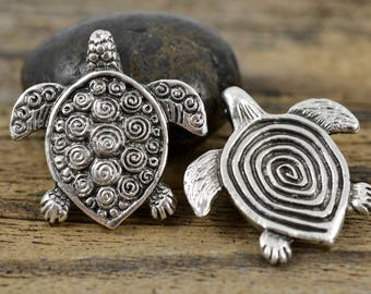 Mykonos Spiral Turtle Pendant - Pewter -  30x30mm - Double Sided Pendant - QTY: 1, 2, or 4
