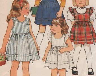 Girls Sun Dress & Jumper Hemline Tucks Optional Ruffle Size 6X Sewing Pattern 1980s